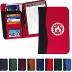 70D nylon Stitched construction 4 card holders and transparent I.D. holder 5 x 7 writing pad included Pen not included