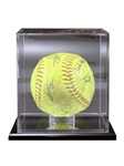 Elegant Display Case with Mirror back. Clear attractive display for that special Softball. Mounted on a ebonyacrylic base to showcase that special achievement while keeping your cherished memory protected.