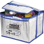 Foam insulation with aluminum finish and clear PVC coating 18-can cooler with heavy duty double stitched constructionReinforced carry handleZippered main compartmentClear front open-top pocket