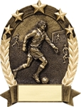 Soccer BronzeStone Star Oval award. This sculpted award is perfect Free-Standing or as a Wall Plaque. Add a gold-tone personalization plate to complete the award. Note - No Rush Service available on this item & 12 piece minimum required. A GREAt ecomnomical participation award!