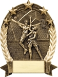 Basketball BronzeStone Star Oval award. This sculpted award is perfect Free-Standing or as a Wall Plaque. Add a gold-tone personalization plate to complete the award. Note - No Rush Service available on this item & 12 piece minimum required. A GREAt ecomnomical participation award!