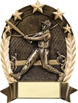 Baseball BronzeStone Star Oval award. This sculpted award is perfect Free-Standing or as a Wall Plaque. Add a gold-tone personalization plate to complete the award. Note - No Rush Service available on this item & 12 piece minimum required. A GREAt ecomnomical participation award!