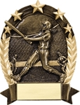 Softball BronzeStone Star Oval award. This sculpted award is perfect Free-Standing or as a Wall Plaque. Add a gold-tone personalization plate to complete the award. Note - No Rush Service available on this item & 12 piece minimum required. A GREAt ecomnomical participation award!