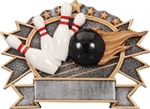 Bowling SilverStone 3-D Color Shields - large. Hand Crafted SilverStone Sculptured Sport Shields are perfect Free-Standing or as a Wall Plaque. The pewter finished resin shield with gold highlights and full color sport icon provide something completely different for your upcoming award event. The 3-D life-like action scene has a ribbon framed area for personalization. NEW ITEM!
