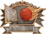 Basketball SilverStone 3-D Color Shields - large. Hand Crafted SilverStone Sculptured Sport Shields are perfect Free-Standing or as a Wall Plaque. The pewter finished resin shield with gold highlights and full color sport icon provide something completely different for your upcoming award event. The 3-D life-like action scene has a ribbon framed area for personalization. NEW ITEM!