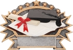 Graduation SilverStone 3-D Color Shields - large. Hand Crafted SilverStone Sculptured Sport Shields are perfect Free-Standing or as a Wall Plaque. The pewter finished resin shield with gold highlights and full color sport icon provide something completely different for your upcoming award event. The 3-D life-like action scene has a ribbon framed area for personalization. NEW ITEM!