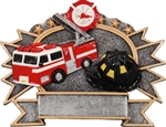 Firefighter SilverStone 3-D Color Shields - large. Hand Crafted SilverStone Sculptured Sport Shields are perfect Free-Standing or as a Wall Plaque. The pewter finished resin shield with gold highlights and full color sport icon provide something completely different for your upcoming award event. The 3-D life-like action scene has a ribbon framed area for personalization. NEW ITEM!