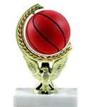 Basketball - Spin Squeeze Ball Trophy. The Full Color soft-touch Mini Sport Ball is Spinnable, Squeezable and Removable for added fun. Add color and fun to your presentation with this NEW Product! Gold-tone personalization plate is applied to solid real marble base.