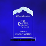 Sculptured Whitecap Wave Top Edge - Clear Acrylic Award. The flowing sculptured triple edge frosted design caps this award. Detailed laser engraving add frosted appreciation and recognition for your peak performers..