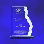 9 Sculptured Waterfall Clear Acrylic Award. The flowing sculptured tri-level frosted edge design distinguishes this award. Detailed laser engraving add frosted appreciation and recognition for your most creative performers..
