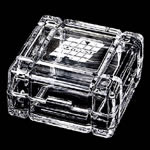 "3 ¼""x 3 ¼"" Crystal Box. This 24% lead crystal box with its contemporary flair is a high-class compliment to any desk and perfect for storing anything from paper clips to candy. Etched copy placed on top."