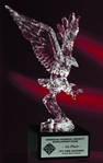 Power and majesty of our national symbol is beautifully portrayed in acrylic! The Acrylic Eagle is mounted on a solid black marble base. A plate is mounted to the front of the marble base to hilite and honor the recipient of this marvelous award.