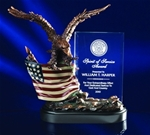 Forever recognize your recipient with this symbol of pride, leadership and freedom. This bronzetone eagle soaring over the handpainted, intricately detailed American Flag supports a clear crystal panel that tells the heroic story.