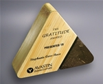 The rich look of the Bamboo will accent any personalized message. With this stone and Bamboo triangle reward your best employees with professional laser engraving. Bamboo is a sustainable and renewable resource.