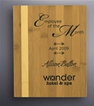 The rich look of the Bamboo Plaque will accent any personalized message. With this combination of light and honey colored Bamboo reward your best employees with professional laser engraving, a lasered or sublimated plate.