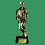 This 18 Antique Gold Hand Crafted Resin Golfer is A Classic The award provides something completely different for your upcoming golf event. The sculptured lifelike golfer is set on an ebony resin base with brass personalization plate. Great for Low Net Low Gross or Member-Guest Awards.
