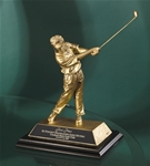 Cast Resin Golfer w/ Antique Gold Finish. This 8 cast golfer makes the perfect low-cost award to meet any budget and yet provides detail common to the higher -end golf sculptures. Engraving plate provided on base for personalization.