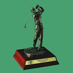 This 12 Antique Bronze Hand Crafted Resin Golfer is holding his pose which provides something completely different for your upcoming golf event. The sculptured lifelike golfer is set on an elegant Rosewood base with brass personalization plate. Great for Low Net Low Gross or Member-Guest Awards.