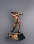 This Cast Resin Golfer with an antique finish is very detailed and rivals high end golf scultptures. A metal tone plate is provided on the base for personalization. This remarkable sculpture is perfect for any golf tournament.
