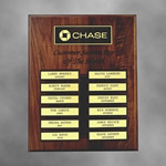 "This 12""x15"" Solid Walnut Perpetual plaque with 12 plates is a must for recognizing Achievement in the Workplace. The Precision Laser cut background and header add simple Elegance to an already Beautiful piece. Price includes all header lettering one logo one color accent and lettering on 12 individual plates."