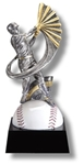 Baseball Motion SilverStone Sculpture Award. The New Motion SilverStone Baseball Sport Sculpture figure is composed with sculpted flowing motion, mounted atop a high gloss full color sport ball - on a tapered ebony base. Add a gold-tone personalization plate to complete the award. Note - No Rush Service available on this item & 12 piece minimum required.