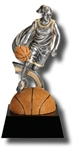 Basketball, F. Motion SilverStone Sculpture Award. The New Motion SilverStone Baseball Sport Sculpture figure is composed with sculpted flowing motion, mounted atop a high gloss full color sport ball - on a tapered ebony base. Add a gold-tone personalization plate to complete the award. Note - No Rush Service available on this item & 12 piece minimum required.
