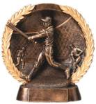 GREAT NEW BronzeStone Wreath Award. The lifelike 3-D sculpted sport figure jumps out of this gold-tone wreath framed sport scene backdrop. WOW! A GREAT NEW award design!!